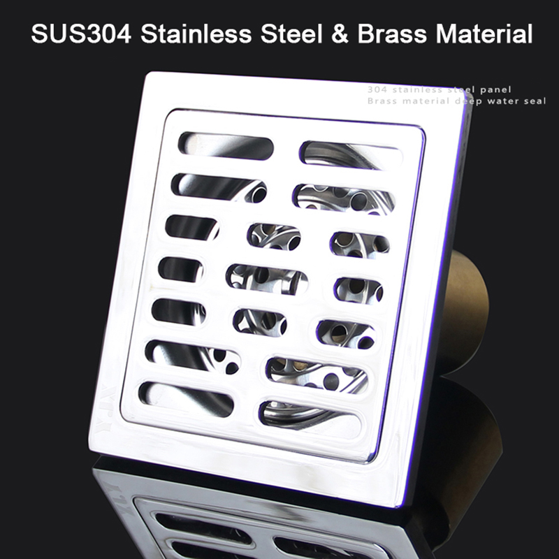 Free shipping 304 solid stainless steel 100*100mm square anti-odor floor drain bathroom brass shower floor drain K190 stainless steel hand palm odor remover lasts forever