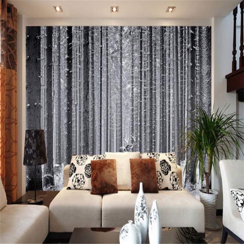 custom modern 3D non-woven mural wallpaper, black and white forest art bedroom 3D sofa tv background wall painting home decor custom 3d mural wallpaper street art graffiti cartoon hand painted brick wall background decor wall painting non woven wallpaper