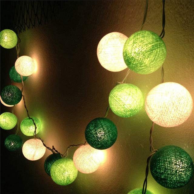 Thai Style 20pcs Lot Led Cotton Ball String Light Green White Fairy Strip For Child