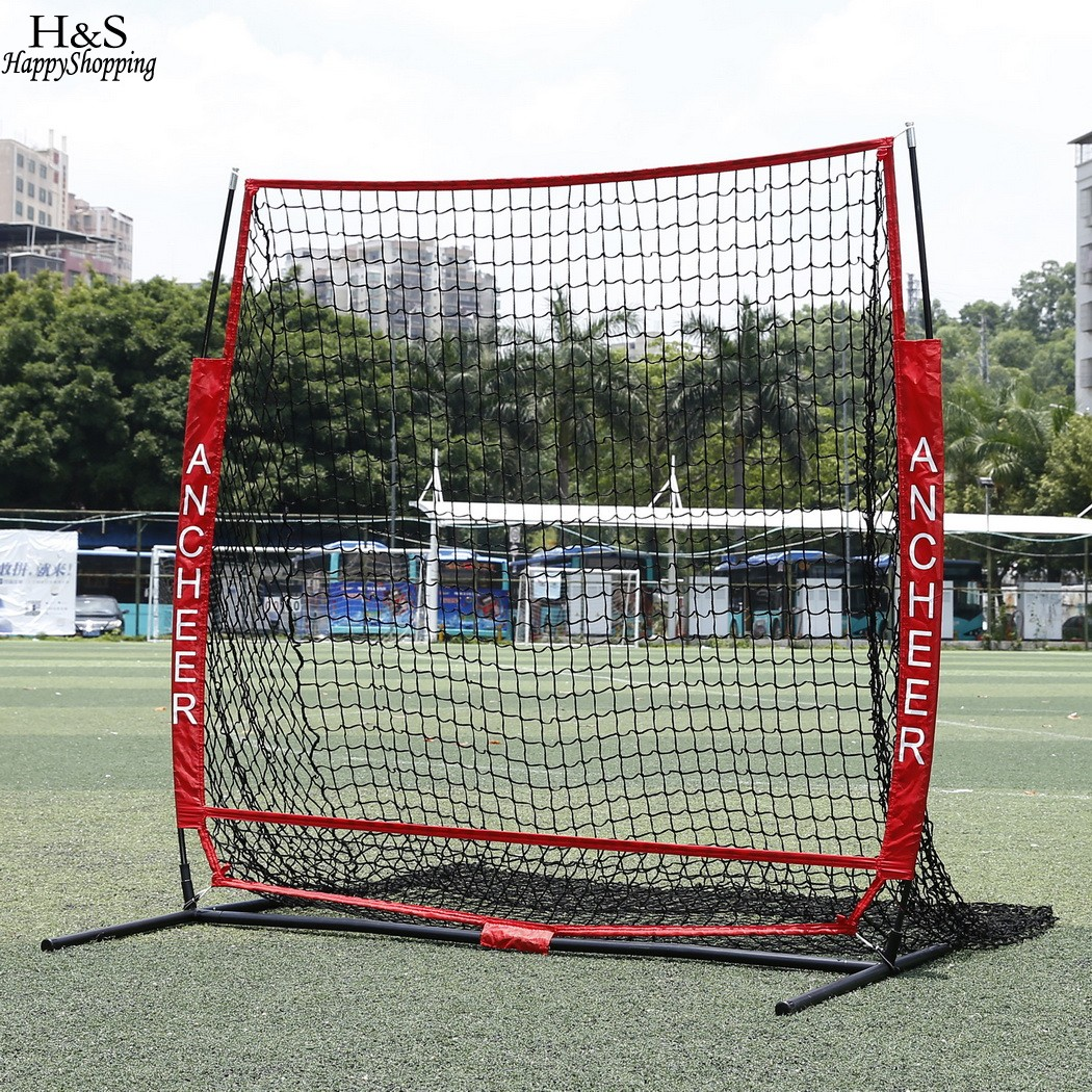 High Quality 5 x 5ft Baseball Practice Net with Bow Frame Strike Zone Target Softball Practice Net Compact Carrying Bag Sports