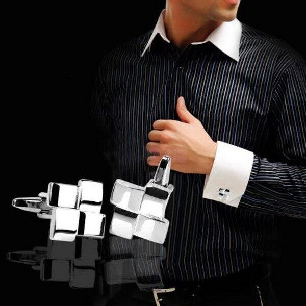 Cindiry Brand French Shirt Men Jewelry Geometric Unique Wedding Groom Men Cuff Links Business Mens Silver Cufflinks Jewelry P1