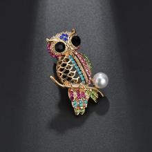 Terreau Kathy Multi Colors Crystal Rhinestones Cute Owl Brooches for Women Pin Badge Wedding Jewelry Christmas Gift(China)