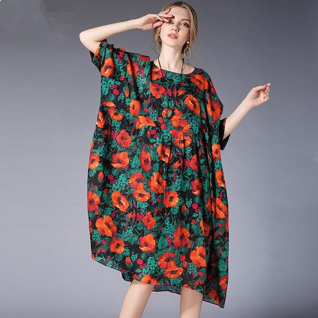 2018 New Women Plus Size Dress L 4xl Casual Chiffon Floral Print