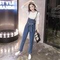 Denim Macacão Mulheres 2016 Estilo Coreano Casual Bow Sash Longo Calças Jeans Jumpsuit Mulheres combinaison femme onesie B160