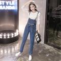 Denim Overalls Women 2016 Korean Style Casual Bow Sash Long Pants Blue Jeans Jumpsuit Women combinaison femme onesie B160