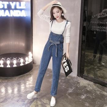 Denim Overalls Women 2017 Korean Style Casual Bow Sash Long Pants Blue Jeans Jumpsuit Women combinaison femme onesie B160 Рубашка