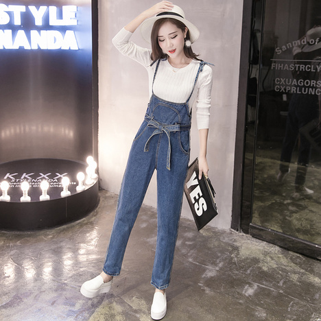 6a555212964c Denim Overalls for Womenn 2019 Korean Style Casual Bow Sash Long Pants Blue Jeans  Jumpsuit combinaison