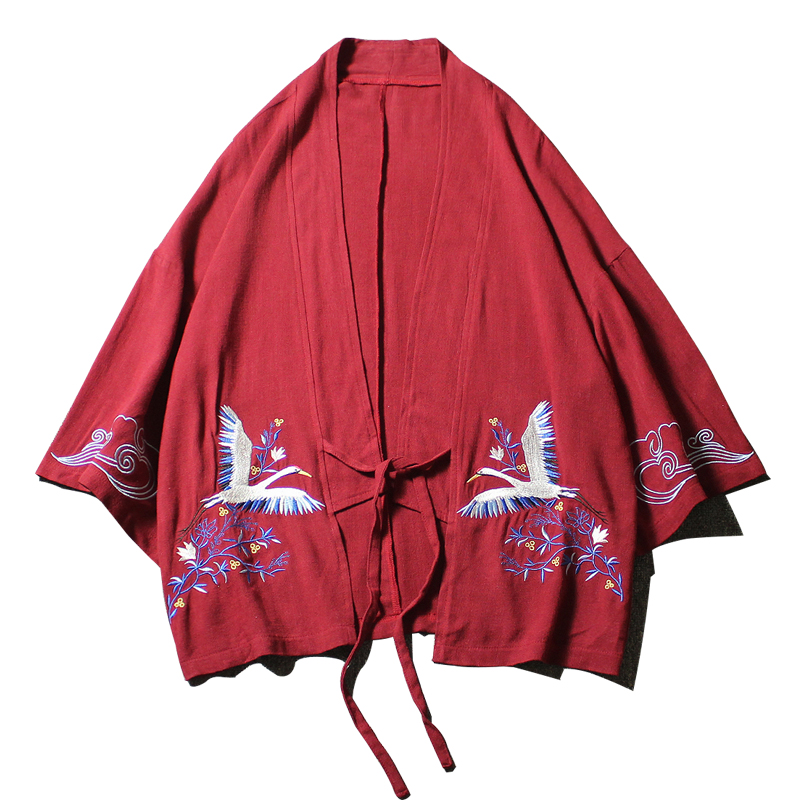 Men Summer Cotton Linen Embroidery Jacket Cardigan Male Fashion Casual Loose Kimono Shirt Coat