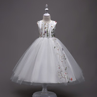 Children Summer Princess Clothing Sleeveless Embroidery Flower Girls White Birthday Party Dresses Kids Tunic Tulle Wedding