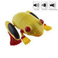 光センサーリモートコントロールカエルrcシミュレーション偽動物のおもちゃで赤懐中電灯