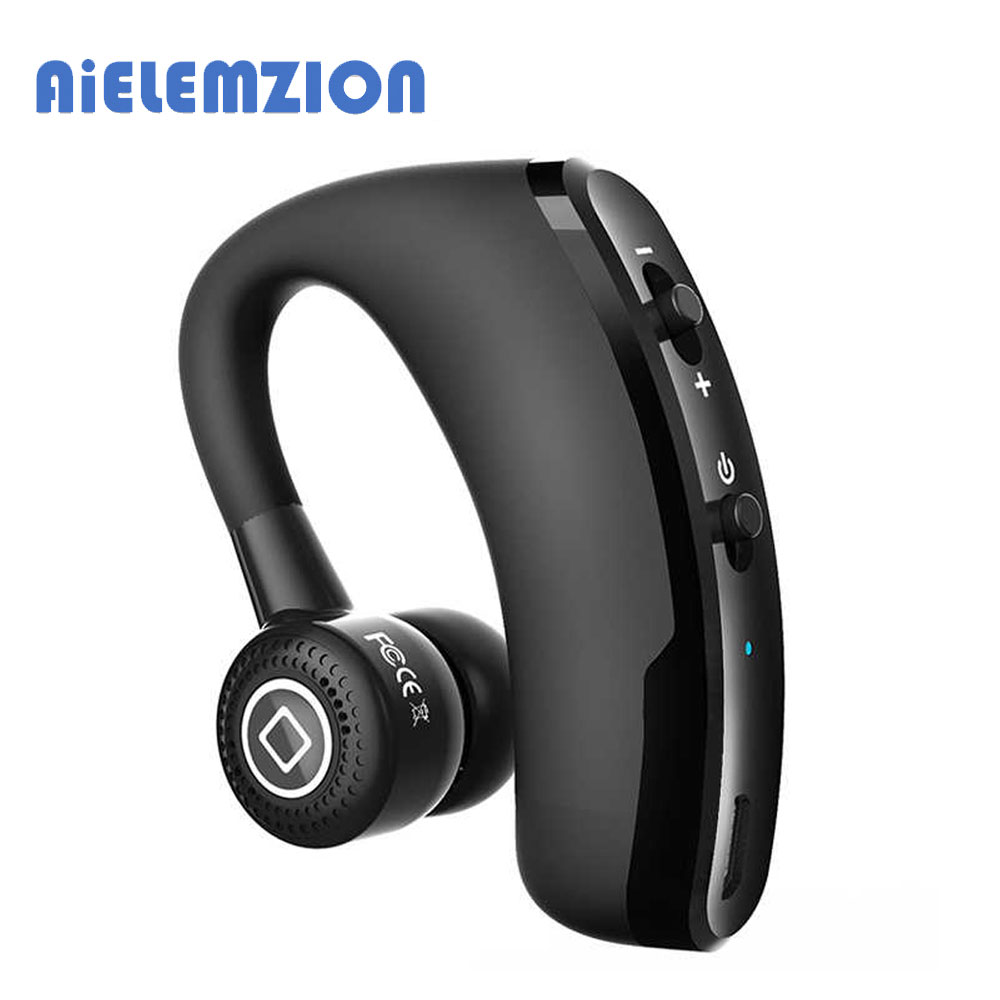 AiELEMZION Wireless Bluetooth Car Handsfree Earphone with Microphone Sports Headset Bass Earbuds Music Earphone Stereo remax 2 in1 mini bluetooth 4 0 headphones usb car charger dock wireless car headset bluetooth earphone for iphone 7 6s android