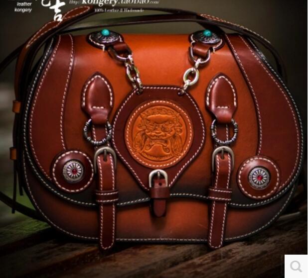 Aibkhk Genuine Leather Hand-made Messenger Bag Men's Crossbody Shoulder Bag Casua &Harley Bags Locomotive Flap Retro Pack Bags