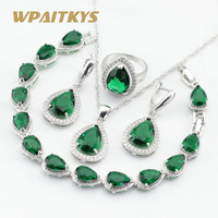 Water DropGreen Emerald White Topaz 925 Silver Jewelry Sets For Women Bracelet Earrings Necklace Pendant Rings