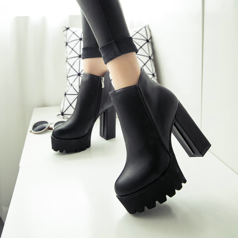 fecha de lanzamiento: 6ae3f b9992 € 21.94 15% de DESCUENTO|Botas de invierno para mujer, con plataforma  negra, con cordones, tacones altos gruesos, zapatos Punk, botines, botas de  ...