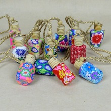 50pcs roll on print perfume bottles polymer clay empty  essential small perfume refillable bottle Car Pendant Personalized Gifts