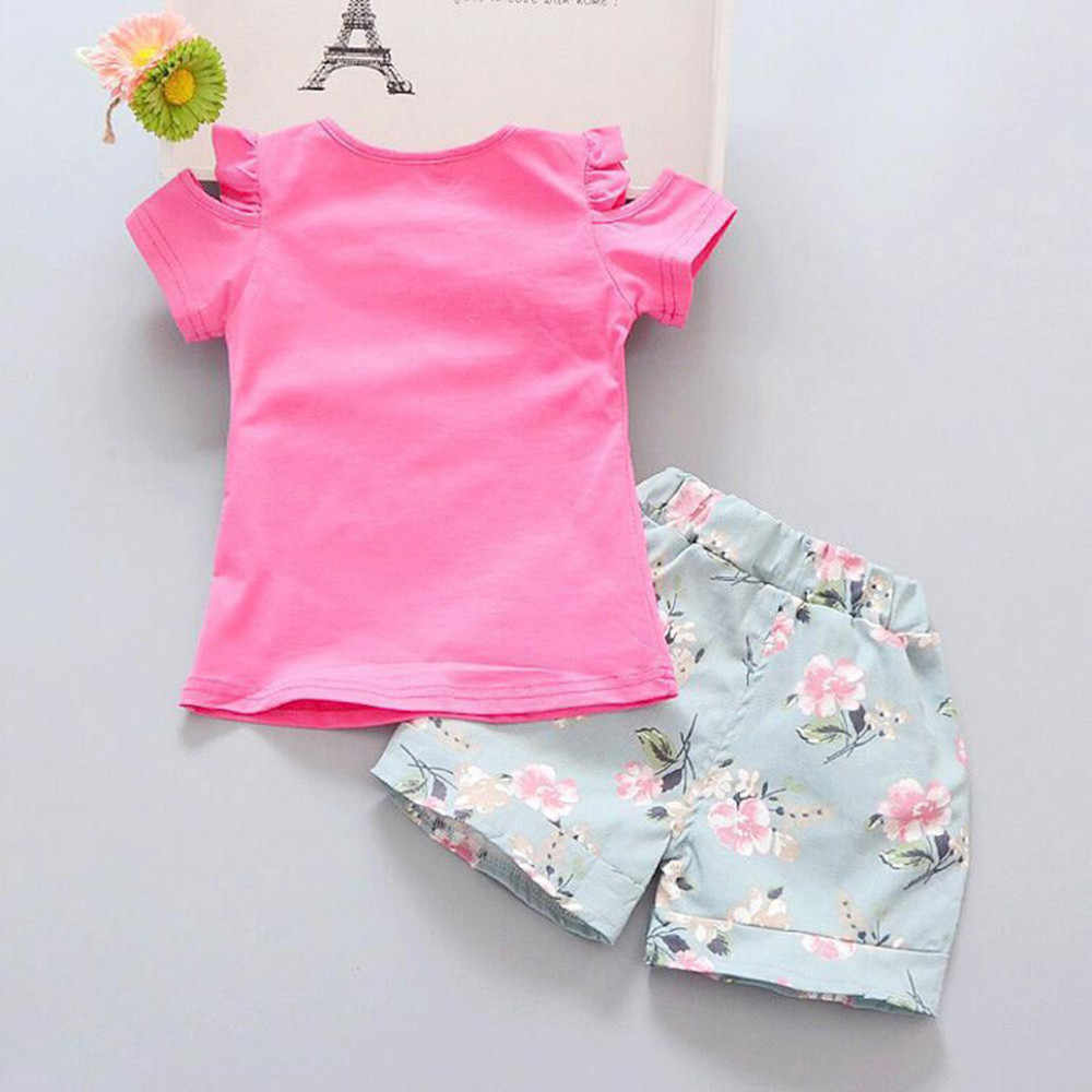 83719e2be4a70 MUQGEW Newborn Clothes Winter Toddler Kids Baby Girl Letter T-shirt  Top+Floral Shorts Pants Outfit Clothes Set roupa de bebe