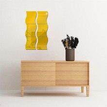 חדש 6 PCS DIY נשלף בית חדר קיר מראה מדבקת אמנות ויניל קיר דקור מדבקות קיר מדבקת vinilos decorativos para פרדס