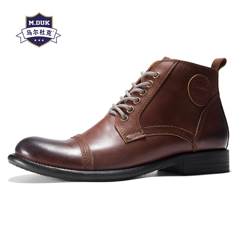 Martin men's Genuine Leather boots British retro all-match cowhide breathable sneaker boots men casual shoes autumn winter male new winter boots martin male tide high velvet warm shoes men british short boots all match cowhide cashmere men s casual shoes