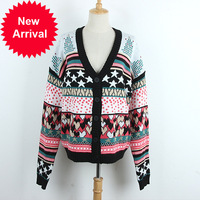 High Quality 2018 Autumn New Five pointed Star V Button Edition Cardigan Sweater Coat Tide Female Ladies' Sweaters