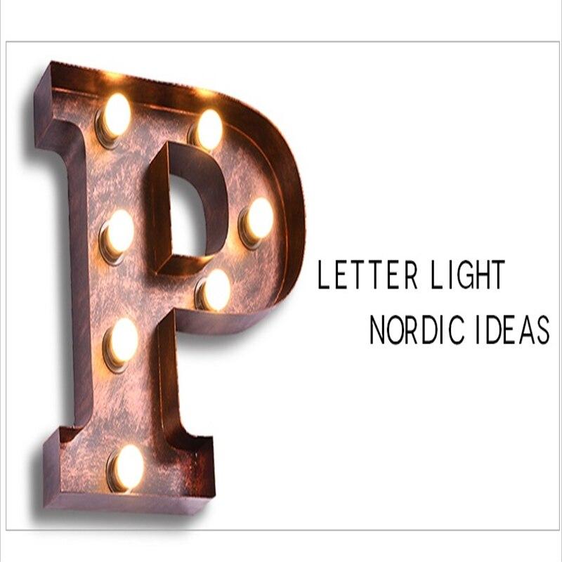 Fumat Metal Letter Lights Vintage American Loft Letter P Wall Lamps