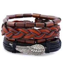 Vintage Wing Rope Leather Braided Bracelet Set for Man Woman Casual Wristband Hand Jewelry Gift Drop shipping 4 PCS/Set