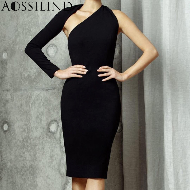 AOSSILIND Sexy One Shoulder Backless Bodycon Dress Women Autumn Long Sleeve Hollow Out Skinny Party Club Midi Dresses