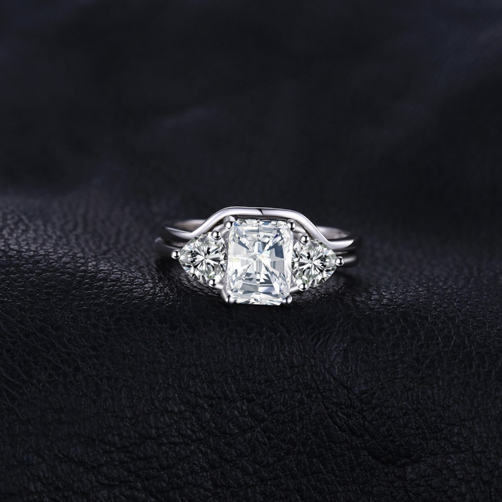 JPalace Emerald Cut Engagement Ring Set 925 Sterling Silver Rings for Women Wedding Rings Bands Bridal Sets Silver 925 Jewelry in Wedding Bands from Jewelry Accessories