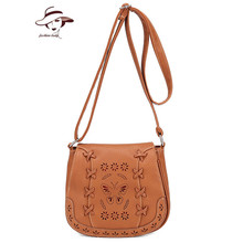 Women Bags Flower Carved Hollow Out Vintage Corssbody Messenger PU Leather Bag Casual Shoulder Bags Girls Gifts Fashion Designer