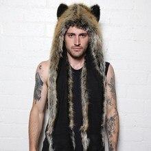 2017 Women/Men Winter Faux Fur Hood Animal Hat Ear Flaps Hand Pockets 3in1 Hood Hat Wolf Plush Warm Animal Cap with Scarf Gloves
