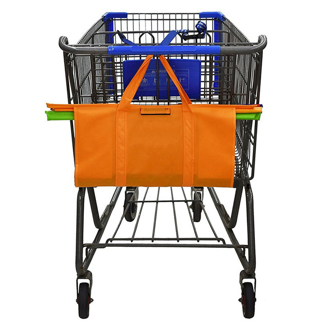 Cart Trolley Supermarket Shopping Bag Grocery Grab Shopping Bags Foldable Tote Eco-friendly Reusable Supermarket Bags 4pcs/set 4