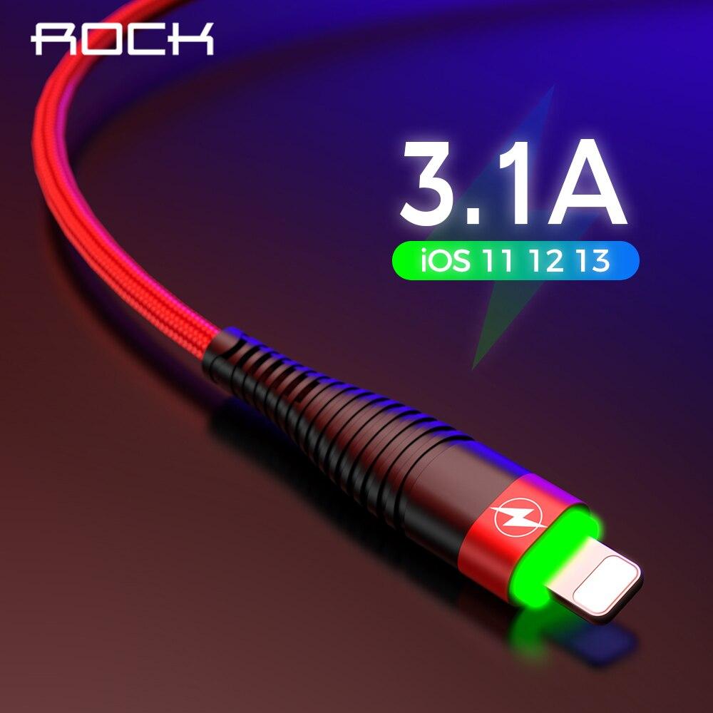 ROCHA Levou a Cabo Usb Luz para iphone 5 5s 6 6s 7 8 Plus X iPad iluminação Cabo de Carregamento Usb Sincronização de Dados Cabo de Transferência de Dados 8 Pin