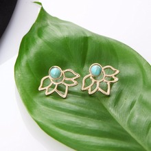 E0116 Fashion Jewelry Gold Silver Color Hollow Flower Stud Earrings For Women Natural Green Stone Stud Earrings Gift Wholesale