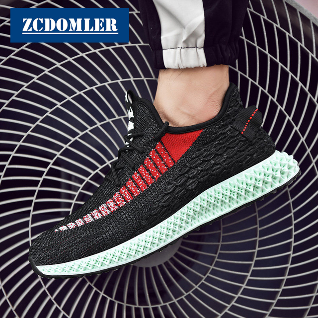 ZCDOMLER Flyknit Casual Shoes Men 2019 Breathable White Mens Sneakers Summer Mesh Male Trainers Shoes Black Zapatillas Hombre