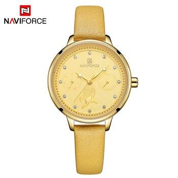 NAVIFORCE Brand Gold Watch Luxury Women Dress Rhinestone Quartz Watch Casual Women Leather Strap  Wristwatches Female Clock дамски часовници розово злато