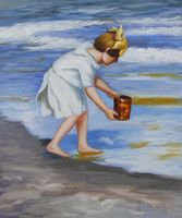 Wholesale Oil Painting for Living Room Brighton Beach Edward Potthast Canvas Art Painting Landscapes Hand Made
