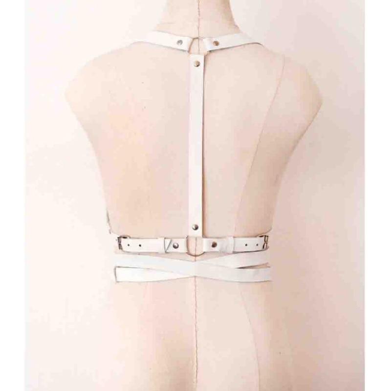 dadbbd26d05 Gothic Suspender Women Leather Harness Sexy Punk Cross Sculpting Body Waist  Belt 100% handmade female belts harness woman-in Garters from Underwear ...