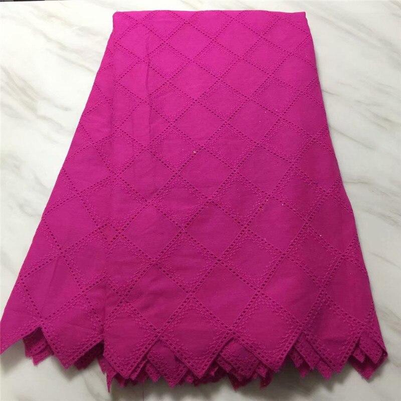 HFX nigéria polonais suisse Voile lacets en suisse haute qualité Fushia rose africain sec coton dentelle tissu pour homme/femmes L233-2