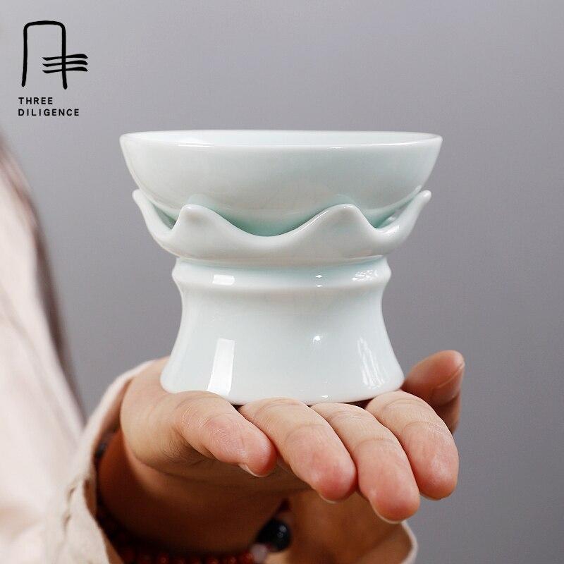 Tea Filter Handmade Ceramic Spice Oolong Pu 'er Tea Coffee Strainer Mesh Diver Tea Infuser Flower Shadow-blue Glaze Tea Infusor