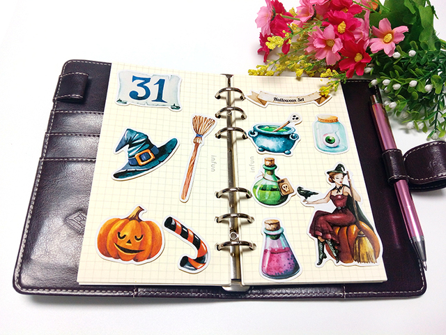22pcs  Self-made handbook stickers cute kawaii halloween stickers funny decorative stickers scrapbooking DIY craft photo albums