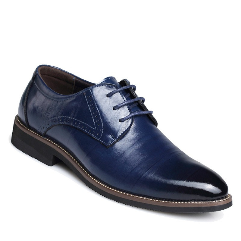 Luxury Brand Men Dress Shoes Split Leather Formal Business Italy Men Oxfords Shoes Wedding Party Brogue Shoes Flat  Banquet 620