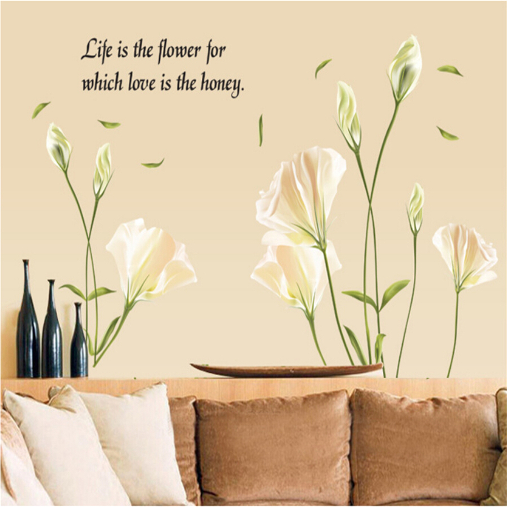 compare prices on lily wall stickers online shopping buy low ay9152 lily vinyl wall stickers for kids rooms children home decor sofa living wall decal child