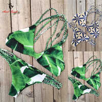 Ariel Sarah Brand New Bikini 2017 Bandage Bikinis Set Green Floral Print Swimsuit Swimwear Bathing Suit