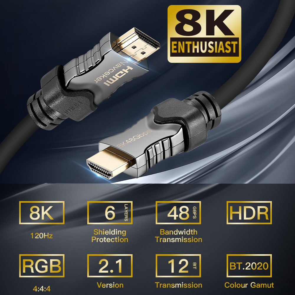 Navceker 2019 Gbps 48 2.1 Cabos HDMI 8K @ 8 60Hz Cabo HDMI 2.1 K Cabo HDMI 2.1 HDR 4 K HDMI 2.1 Cabo para Apple TV Samsung QLED TV