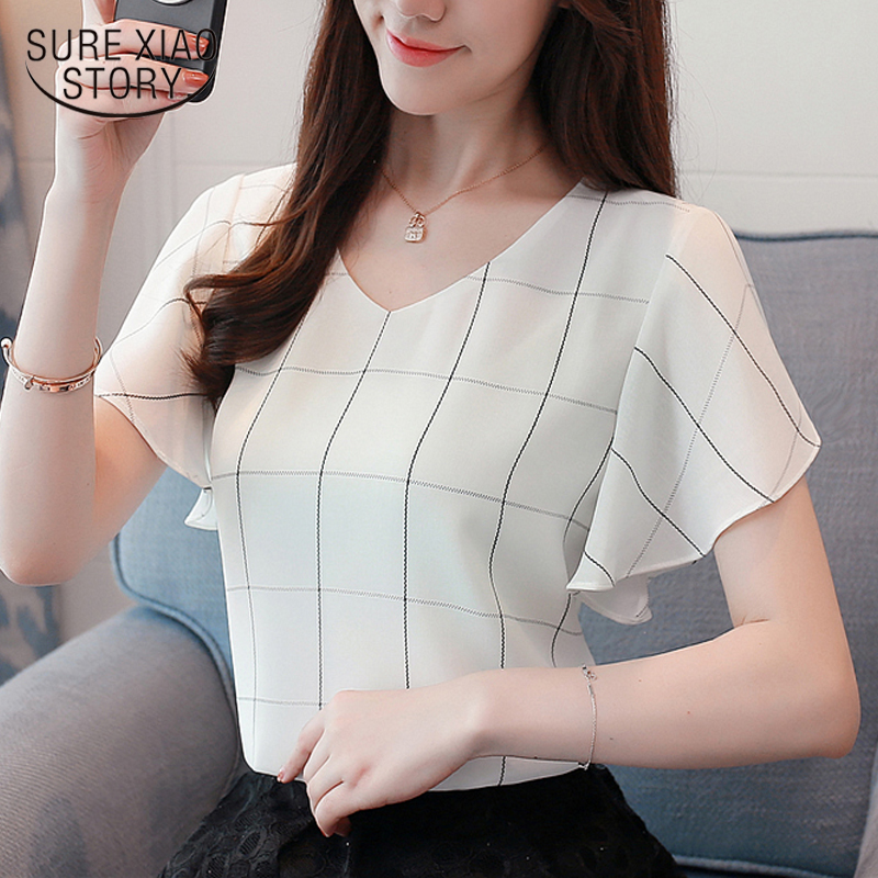new Summer short sleeve chiffon women   blouse     shirt   fashion 2019 plaid women's tops sweet v-neck women's clothing blusas D741 30