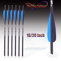 12 Carbon Arrows 16/20 Inches Spine 400 Blue Black Feather Outdoors Hunting Replaceable Archery Arrows