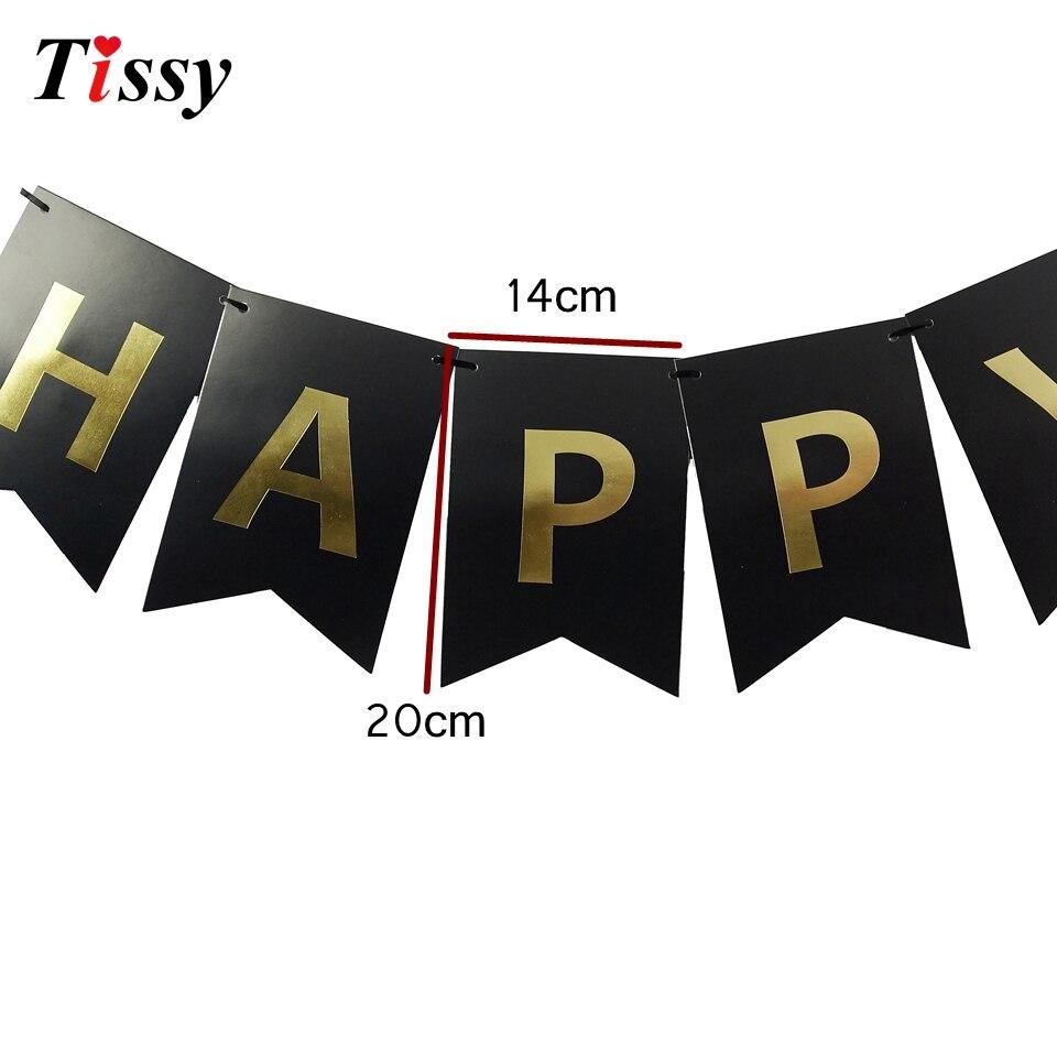 1Set Paper Crafts Black&Gold&Silver Happy Birthday Banner Garlands Decoration Bunting Birthday For Kids Birthday Party Supplies