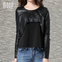 Весенние Черные натуральная кожа футболка женская стрейч хлопок ткань сращены укороченный топ Camisetas Mujer Camiseta lt1293