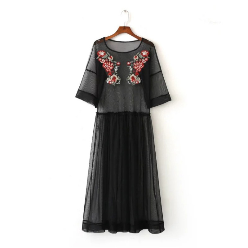 Summer See Through Black Flower Embroidery Women Dress Three Quarter Sleeve Crew Neck Dresses Women Clothes 2017