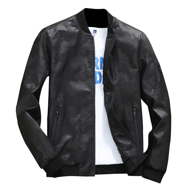 Spring And Autumn Jacket Leather Men Motorcycle Clothing Round Neck