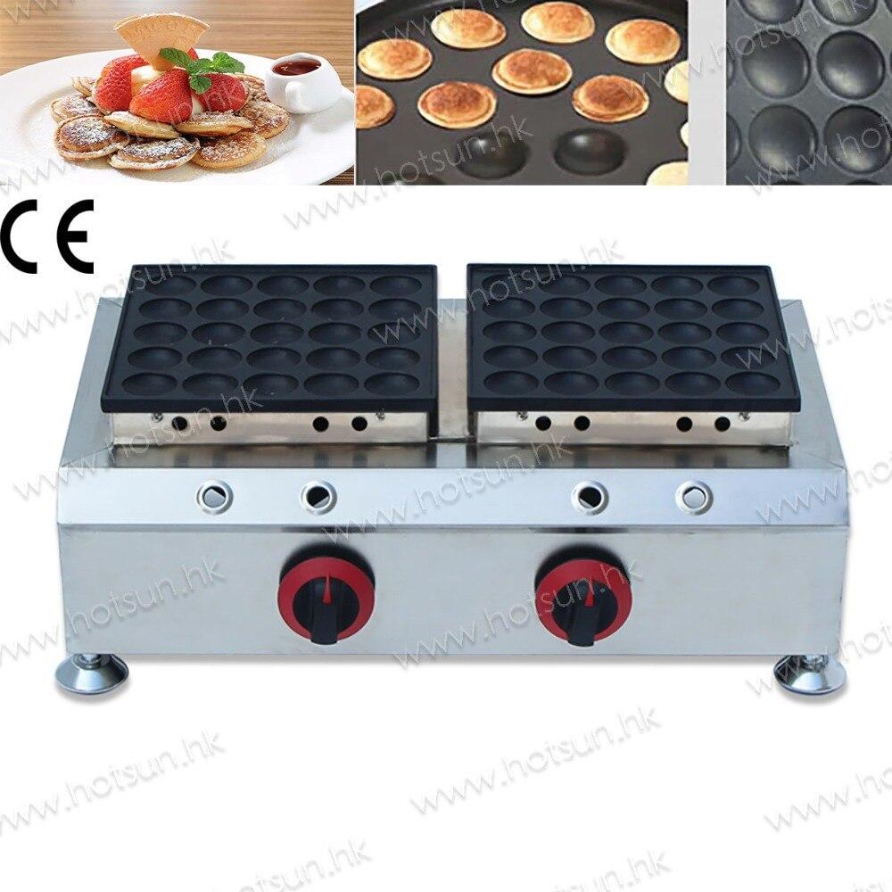 50pcs Commercial Use Non-stick LPG Gas Dual Poffertjes Mini Dutch Pancakes Dorayaki Baker Maker Iron Machine Grill